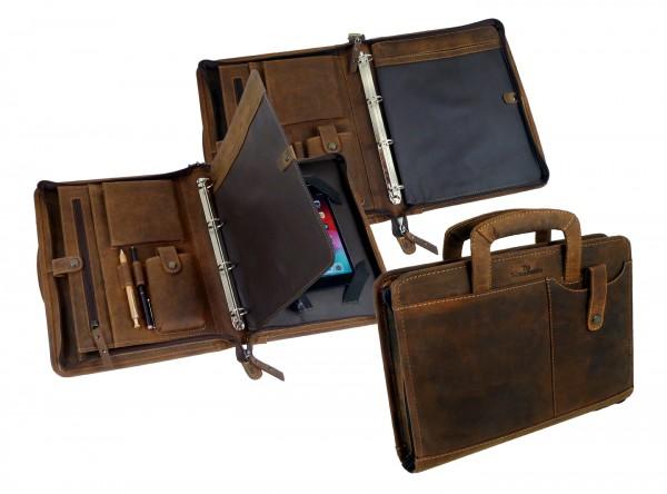 """Konferenzmappe / Geschäftsmappe / Schreibmappe """"Vintage Buffalo"""" - 25- braun"""
