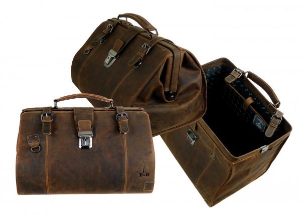 "Doc. Frame Bag Bügel Travel ""Vintage Buffalo"" - 25- braun"