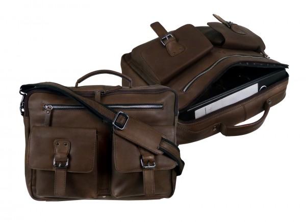 Briefcase/Mappe Laptopmappe *CASTER* 25-braun/brown